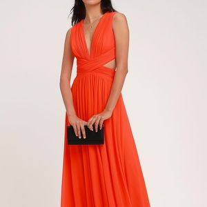 Lulu's Coral Red Orange Cutout Maxi Dress